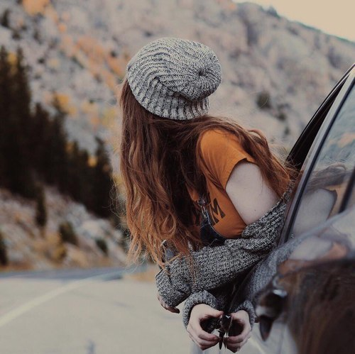 car, girl, and road image