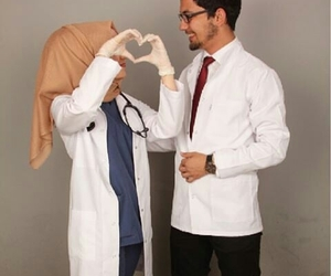 couple, doctor, and hijab image