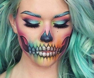 makeup, Halloween, and colorful image