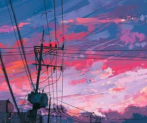 art, sky, and pink image