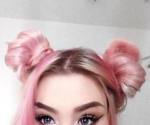 hair, pink, and makeup image