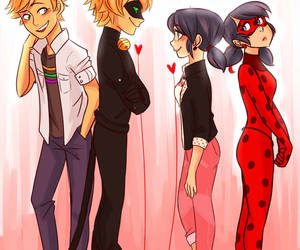ladybug, Adrien, and Chat Noir image