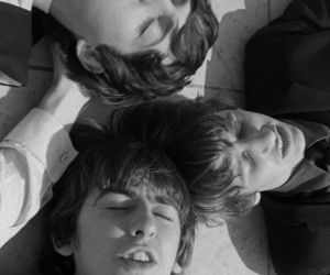 60's, black and white, and george harrison image