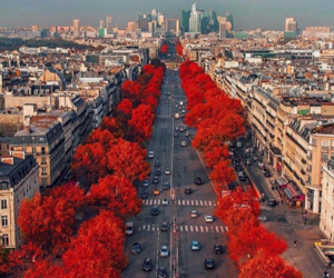 red, city, and paris image
