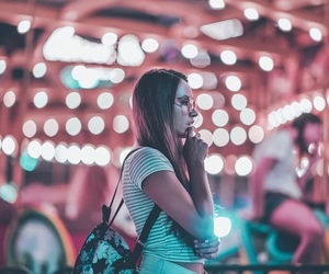 girl, lights, and neon image
