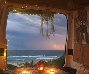 boho, hippie, and van image