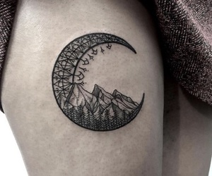 moon, mountains, and tattoo image