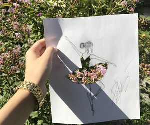 art, ballerina, and drawings image