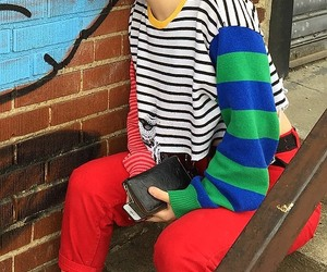 red pants and striped crop sweaters image