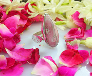 wedding jewelry, silver ring, and rhodochrosite image