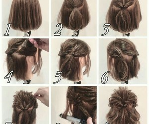 hairstyle, short hair, and tutorial image