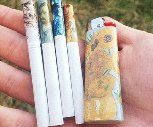 art, cigarette, and van gogh image