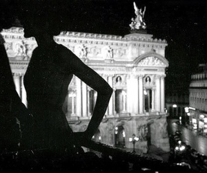 couple, black and white, and night image