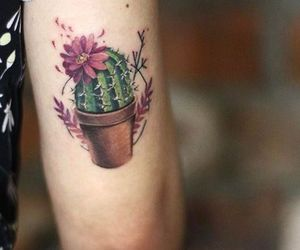 tattoo, cactus, and flower image
