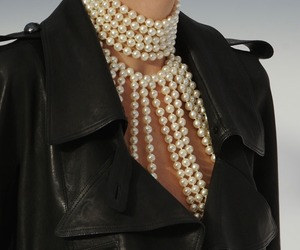 fashion, pearls, and jacket image