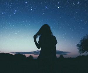 girl, night, and sky image