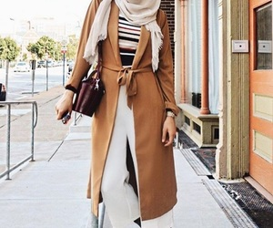 camel coat with hijab image