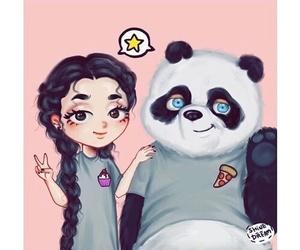 panda and drawing image