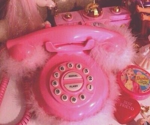 pink, barbie, and phone image