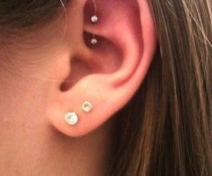 piercing, ear, and rook image