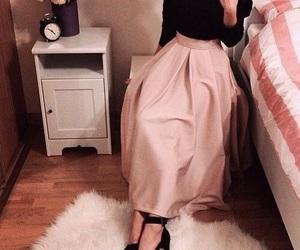 fashionable, maxi skirt, and hijabfashion image