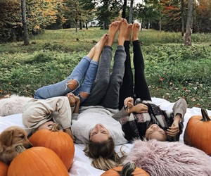 girl, pumpkin, and friends image