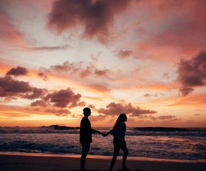beach, clouds, and couple image