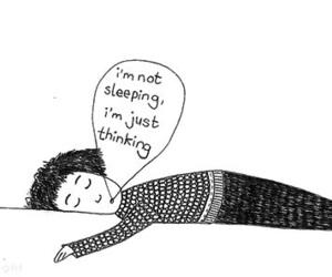 sleep, thinking, and sleeping image