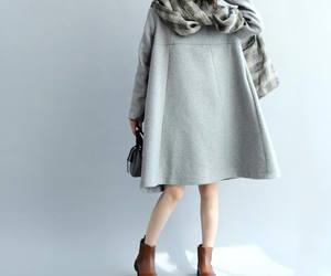 brown dress, fashion dress, and wool dress image