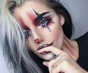 clown makeup, Halloween, and long nails image