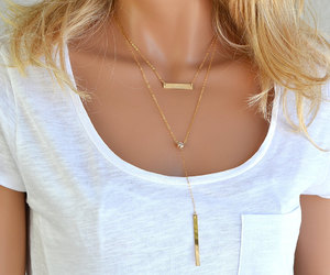 etsy, layered necklace, and bar necklace image
