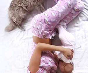 cat, baby, and mommy image