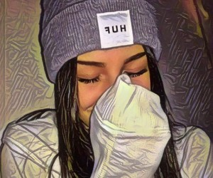 beanie, girl, and selfie image