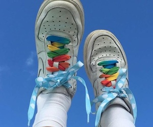 shoes, aesthetic, and rainbow image