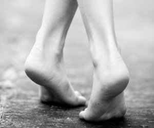 feet and black and white image