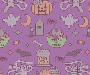 Halloween, wallpaper, and pusheen image
