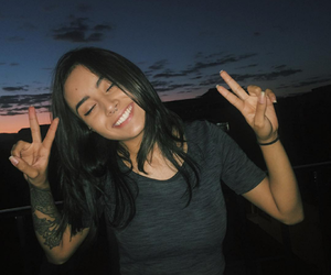 girl, smile, and tattoo image