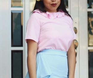 rose, skirt, and pink blouse image