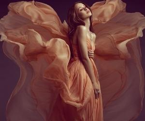 peach dress redhead image