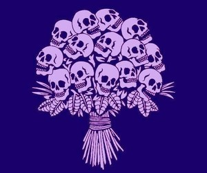 skull, flowers, and bouquet image