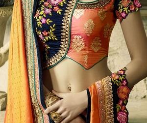 blue, saree, and fashion image