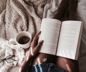 book, girl, and coffee image