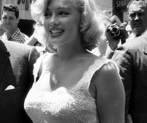 Marilyn Monroe, black and white, and blonde image