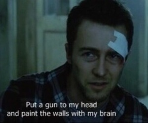 fight club, edward norton, and gun image