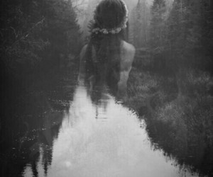 girl, black and white, and forest image