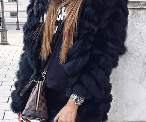 black, fur, and luxury image