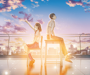 anime, boy, and scenery image