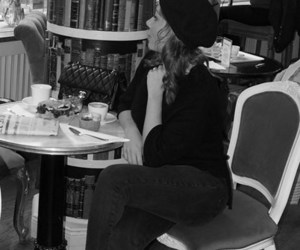 beret, coffee, and cafe image