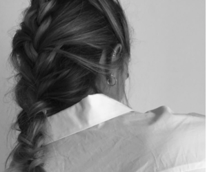 braid, girl, and black and white image