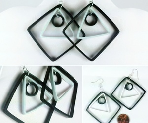 black and white, earrings, and unique jewelry image